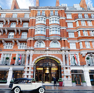 St. James' Court Facade With Vintage Rolls Royce